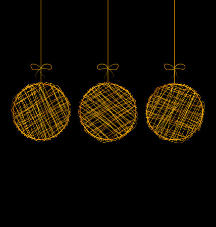 Three wicker golden Christmas balls isolated on black background