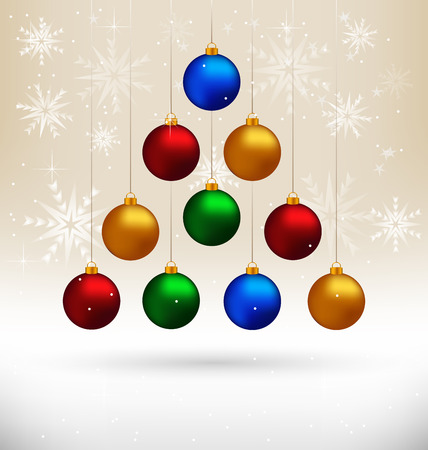 Ten multicolored Christmas balls hanging like fir tree on beige background with snowflakes Vector