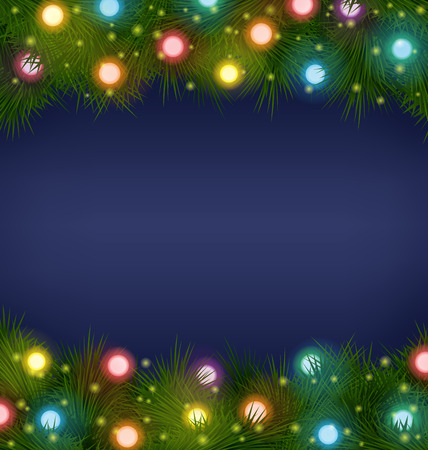 Multicolored Christmas lights on pine branches on blue background Vector