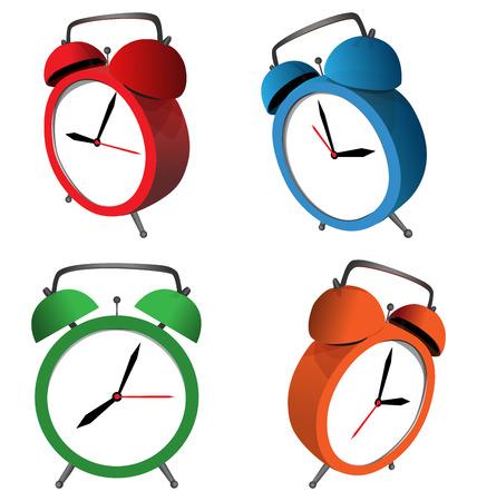 ringer: Four multicolored alarm clocks isolated on white background