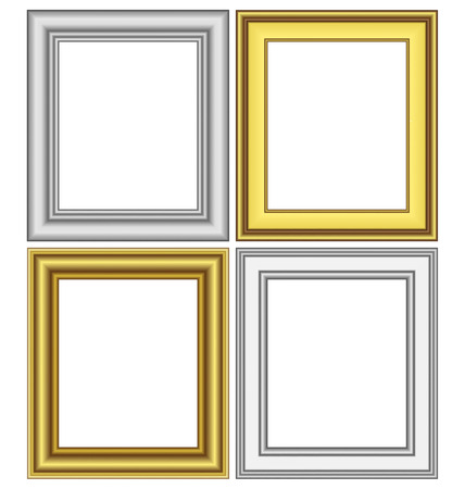 Set of golden and silver frames isolated on white Vector