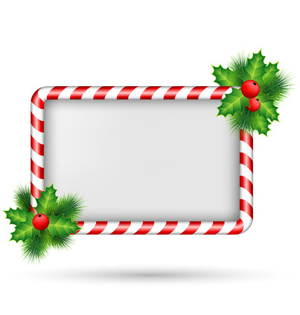 Candy cane frame with holly sprigs isolated on white background