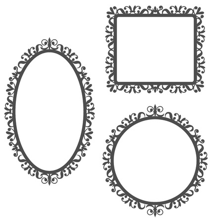 Three black vintage frames in different shapes isolated on white background Vettoriali