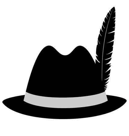 black hat: Sombrero negro con la pluma aisladas sobre fondo blanco
