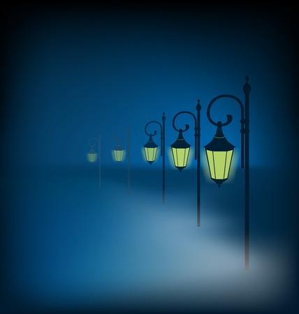 murky: Lanterns stand in fog on dark blue background