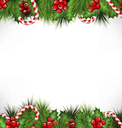 bordes decorativos: ramitas de acebo con ramas de pino y bastones de caramelo aislado en el fondo blanco