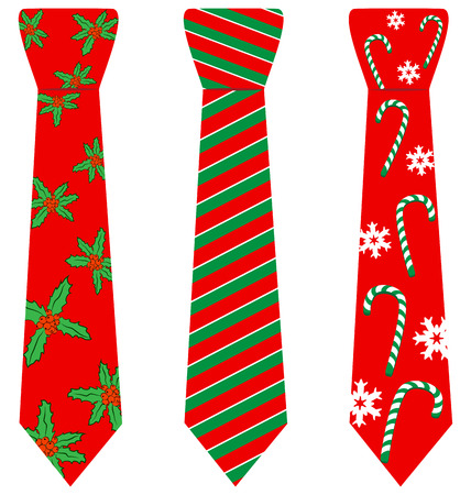 red tie: Three red Christmas ties with print isolated on white background