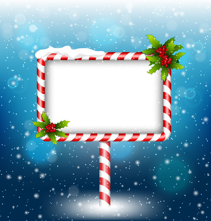 candy background: candy cane billboard with holly sprigs in snowfall on blue background