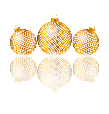 winter grilling: Three golden netting Christmas balls with reflection on white background