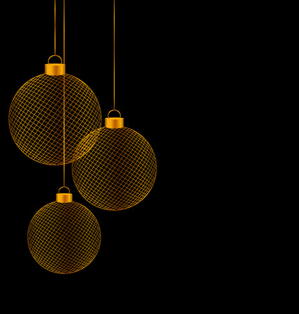 winter grilling: Tree golden netting Christmas balls isolated on black background Stock Photo