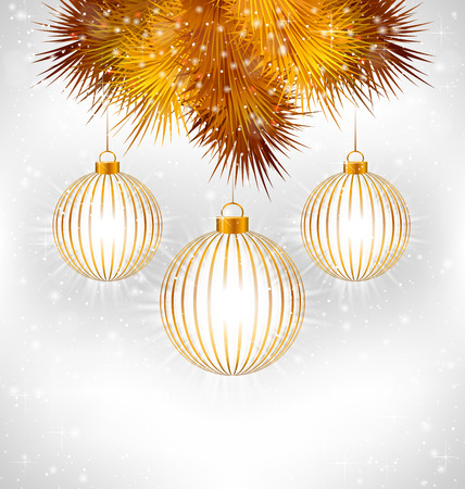 winter grilling: Tree golden Christmas balls in stroke and golden pine branches with light in snowfall on grayscale background