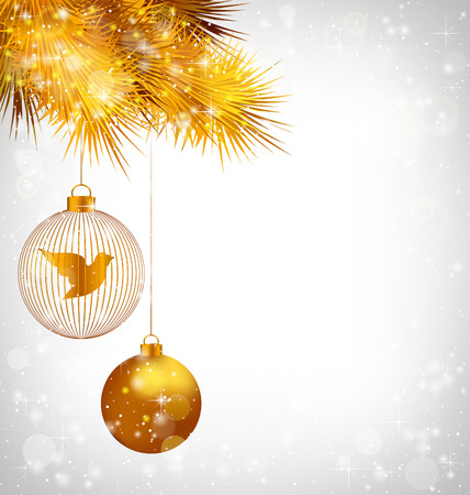 Two golden balls with bird and golden pine branches in snowfall on grayscale background Stock Photo