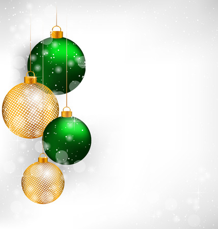 winter grilling: Two green and two golden netting Christmas balls on grayscale background