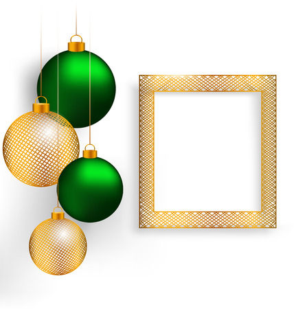 winter grilling: Two green and two golden netting Christmas balls with golden netting frame on grayscale background