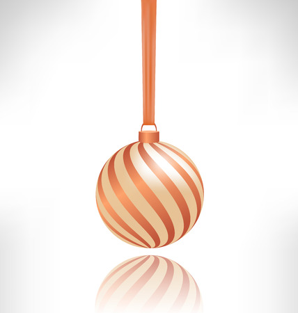 squirm: Single spiral Christmas ball hanging on piece of fabric with reflection on grayscale background