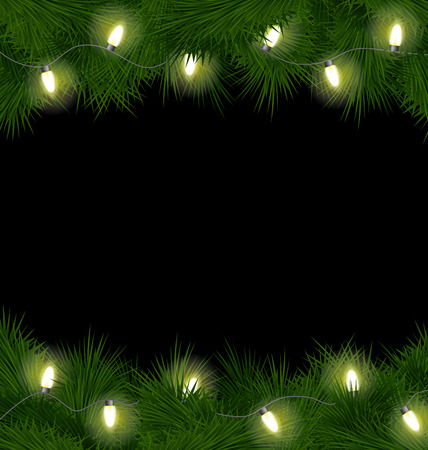christmas fur tree: Christmas lights on pine branches isolated on black background Stock Photo