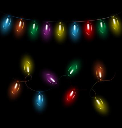 Variations of multicolored glassy led Christmas lights garlands on black background