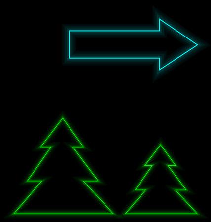 luminescent: Self-illuminated Christmas trees with arrow illuminated on black background Stock Photo