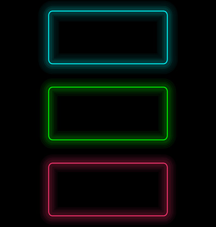 Three multicolored self-illuminated frames for text isolated on black Imagens