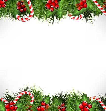 houx: brins de houx avec des branches de pins et de cannes de bonbon isol� sur fond blanc Banque d'images
