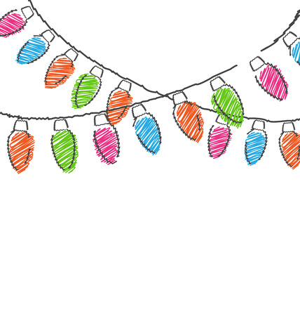 Multicolored flat hand-drawn Christmas lights isolated on white background