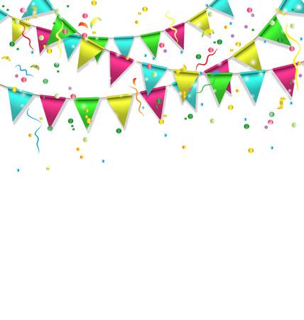 Multicolores bruants vives guirlandes avec des confettis isolé sur fond blanc