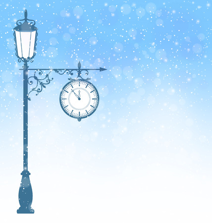 Vintage winter lamppost with clock in snowfall on blue background Vector
