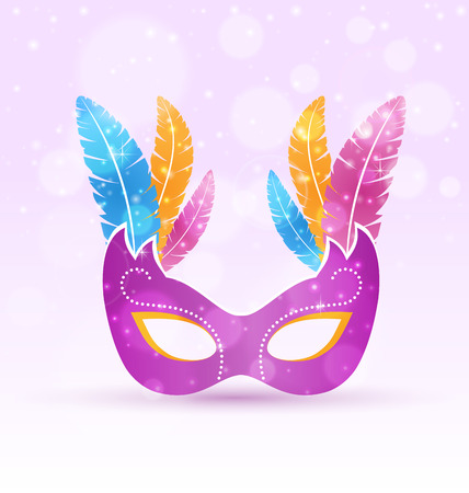 Violet carnival flat mask with multicolored feathers on violet background Stock Illustratie