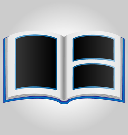 blue book: Blue book with blank photo frames on grey background