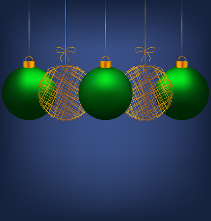 winter grilling: Tree green and two golden netting Christmas balls on blue background