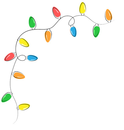 Multicolored flat led Christmas lights garland isolated on white background Vector
