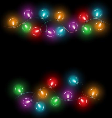 multicolored glassy circle led Christmas lights garlands on black background Illustration