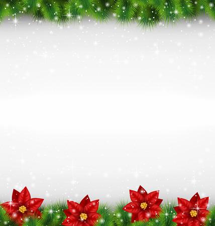 Glanzend groene dennentakken zoals frame met bloem van poinsettia in sneeuwval op grijswaarden achtergrond