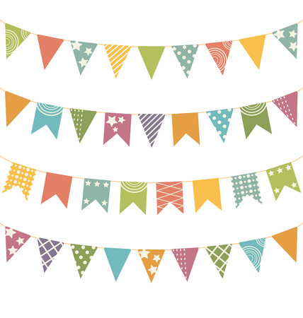 Set of multicolored flat buntings garlands with ornament isolated on white background Illustration
