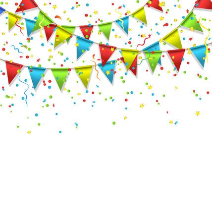 Veelkleurige heldere gorzen slingers met confetti geïsoleerd op witte achtergrond Stock Illustratie