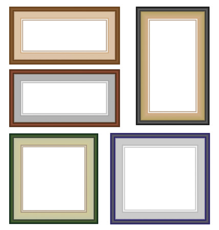 frameworks: Five multicolor classic blank frameworks isolated on white