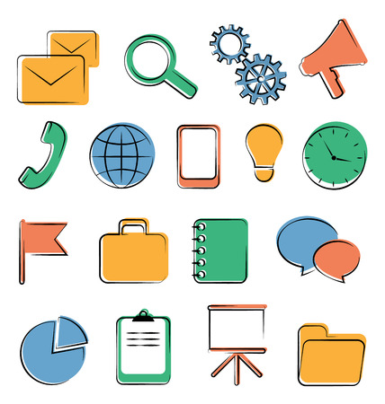 Set of business office flat icons isolated on white Vector
