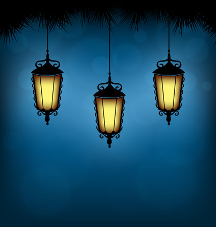 Three illuminated lanterns with pine branches on blue background Vector