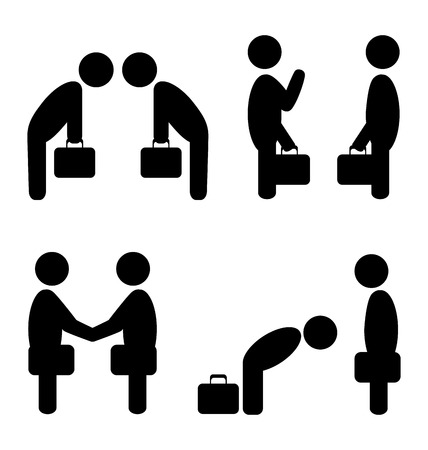 Set of greeting etiquette business situation icons isolated on white Illustration