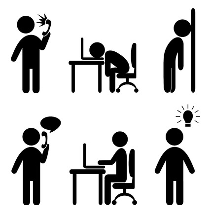 Set of business office situation flat icons isolated on white background Çizim