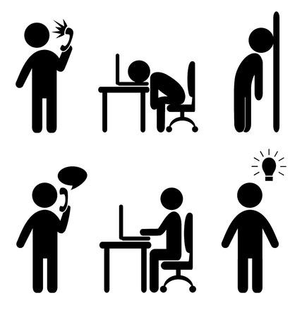 Set van business office situatie vlakke pictogrammen geïsoleerd op een witte achtergrond Stock Illustratie