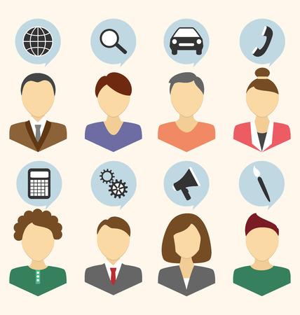 Ensemble de portraits des employés de l'entreprise isolé sur fond beige