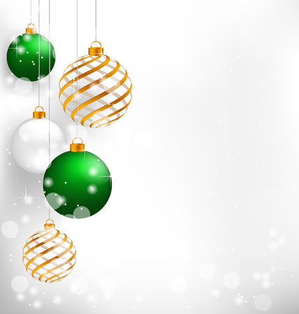 Green spiral christmas balls hang on white background 写真素材