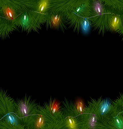 Multicolored Christmas lights on pine branches on black background