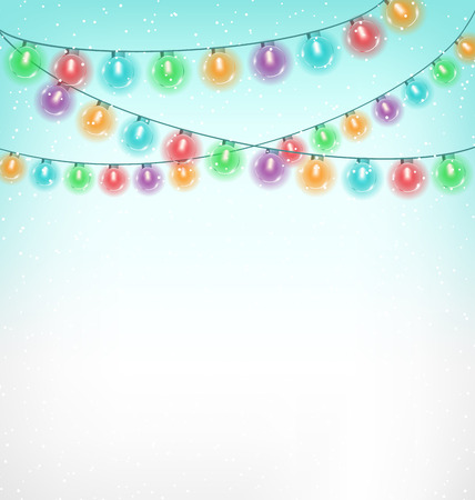 Multicolored circle Christmas lights garlands in snowfall on sky background photo