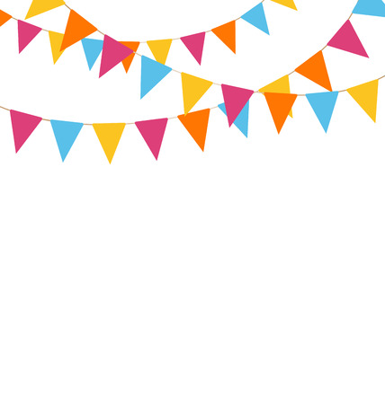 bunting: Multicolored bright buntings garlands isolated on white background Stock Photo