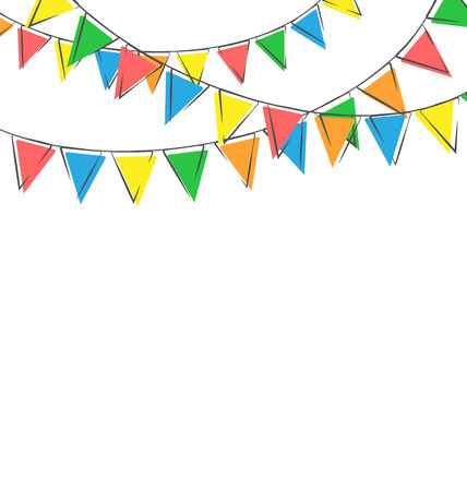 Multicolored bright hand-drawn buntings garlands isolated on white background photo