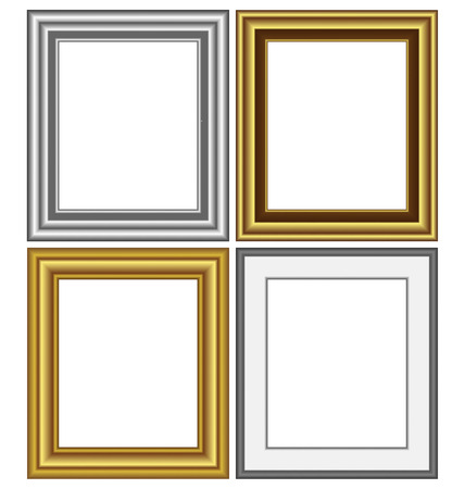 Four multicolored silver and golden frames isolated on white background photo