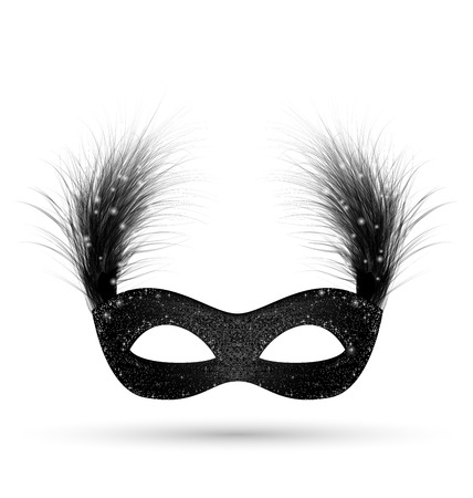 Black carnival mask with fluffy feathers isolated on white background Stock Photo