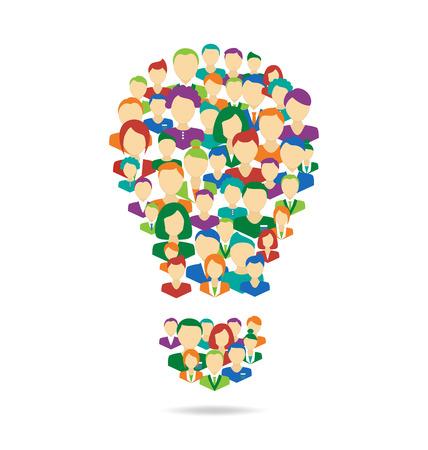 Processus de crowdsourcing lampe symbolisent Idea plat isolé sur fond blanc Banque d'images